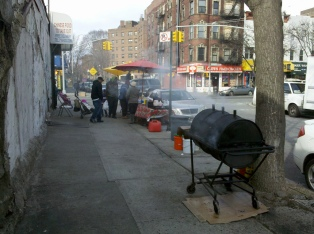 Barbecuing on a sidewalk, NYC barbecue