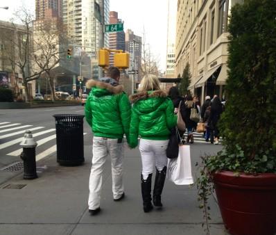 Matching, Couple, Kelley Green Jackets, NYC Street Fashion