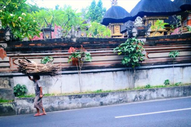 Bali- a man carried some sticks
